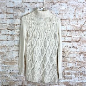 Quinn Ivory/Cream Cashmere Cable Knit Turtleneck Sweater Size XS